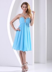 Aqua Blue Chiffon Sweetheart Beaded Celebrity Dresses for Less in A-line
