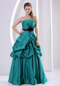Turquoise A-line Celeb Dresses for Less with Hand Made Flower and Belt