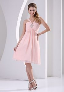 Baby Pink Straps V-neck Empire Chiffon Hollywood Inspired with Beading