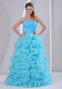 Beautiful Aqua Blue Sweetheart Organza Celebrity Dress with Ruffles for Cheap