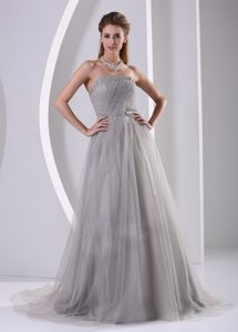 Simple Grey A-line Strapless Plus Size Dress for Celebrity with Beading