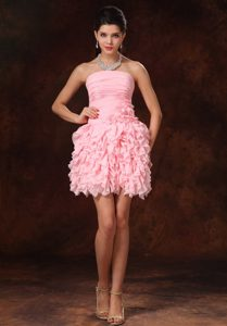 Pink Strapless Mini Prom Celebrity Dresses with Ruffled Layers Made