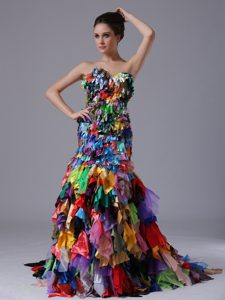 Special Multi-color Mermaid Sweetheart Prom Dresses for Celebrity with Ruffles