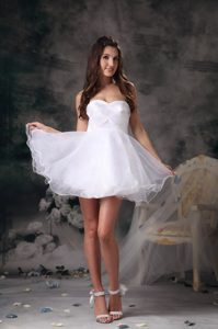 White A-line Sweetheart Mini-length Organza Prom Dress for Celebrity on Sale