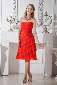 Red A-line Sweetheart Prom Celebrity Dress i n Chiffon