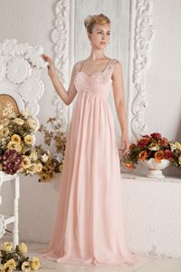 Baby Pink Empire Celebrity Inspired Dress with Beading Best for Girls