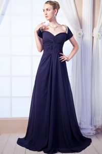 Navy Blue Empire Sweetheart Celebrity Carpet Dresses with Beading