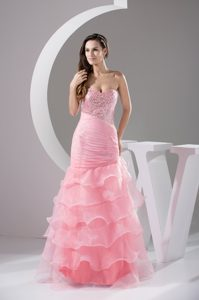 New Beaded Sweetheart Organza Celebrity Dress with Ruffled Layers in Pink