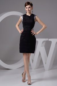 Black and Silver Bateau Mini-length Prom Celebrity Dresses Made in