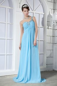 One Shoulder Brush Train Aqua Blue Ruched Celebrity Party Dress with Beading