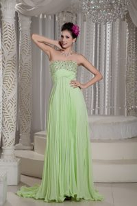 Best Apple Green Strapless Brush Train Beaded Celebrity Party Dress with Pleats