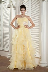 Sweetheart Long Ruched Light Yellow Beaded Celebrity Dress with Ruffles