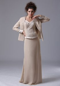 Cheap Long Straps Mother Dress with Beadings in Champagne on Sale