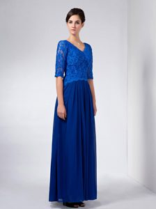 Lace and Chiffon V-neck Mother Dress for Wedding with Long Sleeves in Blue