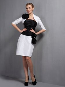 White and Black Ruching Wedding Mother Dresses
