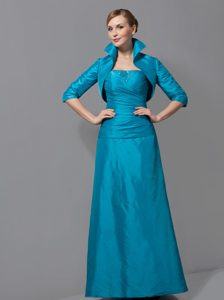 Strapless Long 2013 Prom Dress for Mother with Ruches in Teal
