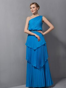 Simple Blue One Shoulder Mother Dress with Layers and Pleats on Promotion