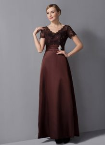 V-neck Brown Beaded Mother Dresses for Wedding with Ankle-length