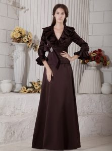 A-line V-neck Brown Dresses for Mother with 3/4 Sleeves and Ruffles