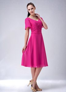 Princess V-neck Tea-length Chiffon Mother Dresses with Ruches in Hot Pink