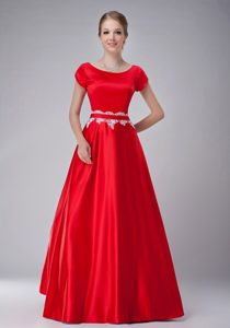 Pretty Red A-line Scoop Prom Dress for Mother in with Short Sleeves