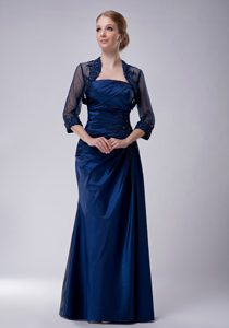 Ruching Mother Dress with Appliques in Navy Blue in the Mainstream