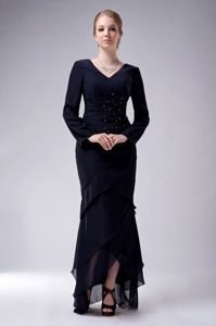 V-neck Chiffon Beaded Wedding Mother Dress with Long Sleeves and Layers