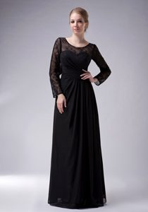 Black Empire Scoop Prom Dresses for Mother with Long Sleeves