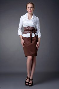 Turndown Collar Knee-length White and Brown Mother of Bride Dress with Sash