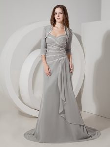 Gray Sweetheart Brush Train Mother of Bride Dresses with Appliques and Jacket