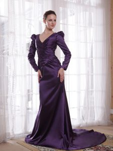V-neck Brush Train Dark Purple Long Sleeves Brush Mother Dress for Wedding