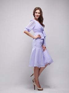 Lilac V-neck Half Sleeves Knee-length Ruched Chiffon Mother of Bride Dresses