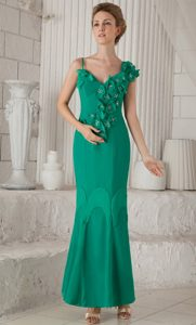 Asymmetrical Shoulder Ankle-length Turquoise Mother Bride Dress with Flowers