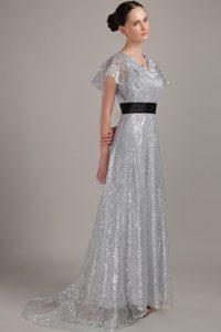 V-neck Short Sleeves Brush Train Silver Sequin Mother of Bride Dress with Belt