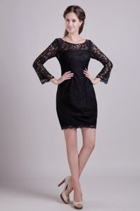 Black Scoop Long Sleeves Mini-length Lace Mother of Bride Dresses for Cheap