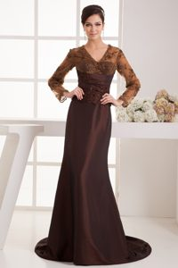 V-neck Long Sleeves Brush Train Brown and Lace Mother of Bride Dress