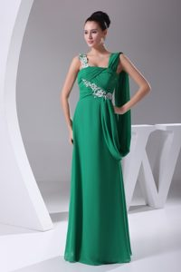 Asymmetrical Shoulder Long Green Appliques Mother Wedding Dresses