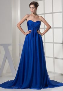 Sweetheart Brush Train Royal Blue Ruched Chiffon Mother Dresses for Wedding