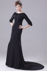 Scoop Long Sleeves Brush Train Black Chiffon Mother Bride Dress with Beading