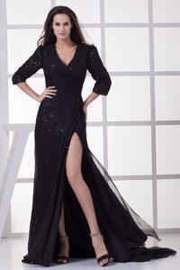 Black V-neck 3/4 Sleeves Brush Train Sequin Mother of Bride Dresses with Slit