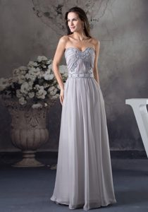 Gray Sweetheart Long Ruched Appliqued Chiffon Mother of Bride Dress