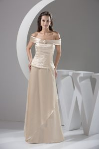 Champagne off-the-shoulder Long Beaded Mother Dresses for Wedding