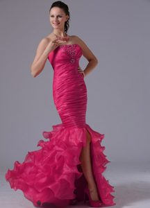 Discount Coral Red Mermaid Sheath Prom Gown Dress with Ruffled Layers
