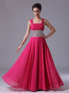 Sweet Hot Pink Straps Prom Gown Dress with Beading and Ruching