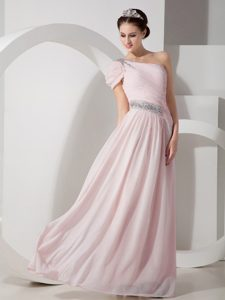 Baby Pink Empire One Shoulder Chiffon Sweet Prom Dress in Floor-length