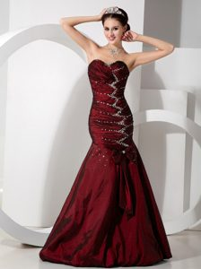 Discount Wine Red Mermaid Sweetheart Junior Prom Dresses with Ruching