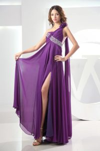 One Shoulder High Slit Watteau Prom Dresses for Cheap in Eggplant Purple