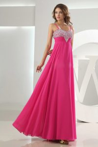 Hot Pink Empire Straps formal Prom Dress with Beading for Wholesale Price