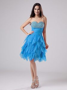 Beaded Sweetheart Teal Cute Prom Attire with Ruffles for Wholesale Price