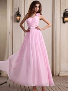 Nice Rose Pink One Shoulder Ankle-length Prom Gown Dress with Ruching